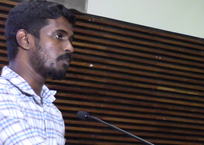 Dinoop presenting paper in the Researcher's Session